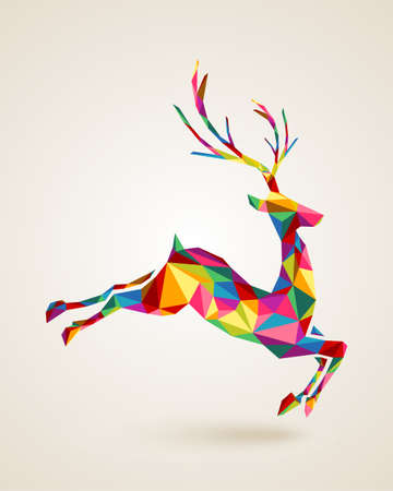 noel: Merry Christmas colorful abstract reindeer with geometric origami composition. EPS10 vector file organized in layers for easy editing