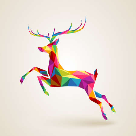Merry Christmas color abstract reindeer geometric composition. EPS10 vector file organized in layers for easy editing