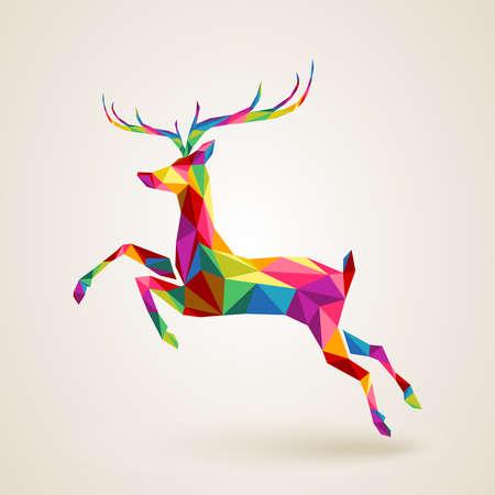 Vrolijk kerstfeest kleur abstracte rendieren geometrische compositie. EPS10 vector bestand georganiseerd in lagen voor eenvoudige bewerking