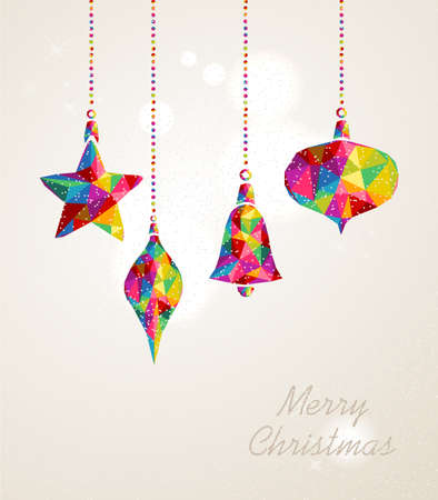 hanging on: Christmas holiday hanging baubles multicolors triangles composition. EPS10 vector file organized in layers for easy editing.