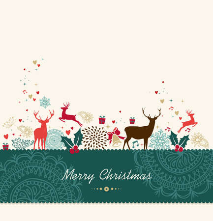 Merry Christmas card background with vintage holiday elements composition. Vector file organized in layers for easy editing. Vector