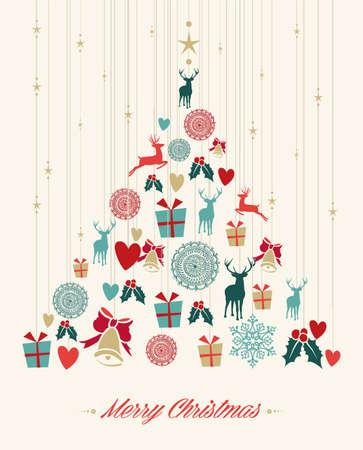 Rbol de Navidad de la vendimia con elementos colgantes que saludan la tarjeta. Archivo vectorial EPS10 organizados en capas para facilitar la edición. Foto de archivo - 24098595