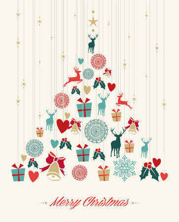 Vintage Christmas tree with hanging elements greeting card. EPS10 vector file organized in layers for easy editing.