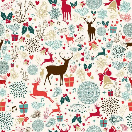 pattern: Vintage Christmas elementen naadloos patroon wikkelen achtergrond. EPS10 vector bestand georganiseerd in lagen voor eenvoudige bewerking.