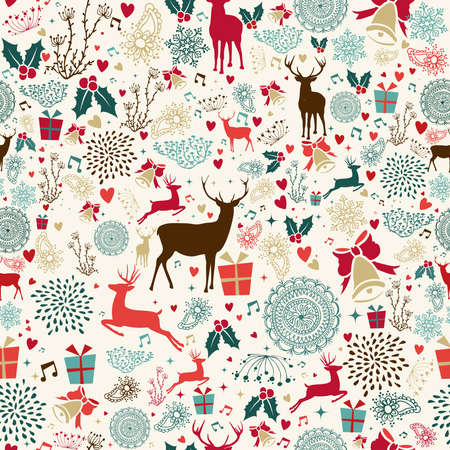Vintage Christmas elements seamless pattern wrapping background. EPS10 vector file organized in layers for easy editing. Çizim