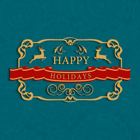 Merry Christmas vintage label with seamless pattern background. EPS10 vector file organized in layers for easy editing. Vector