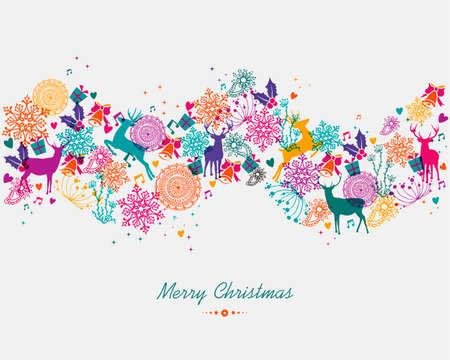 クリスマスの花輪のカラフルな休日の要素の背景を隔離しました。EPS10 ベクトル ファイル簡単に編集用レイヤーに整理します。