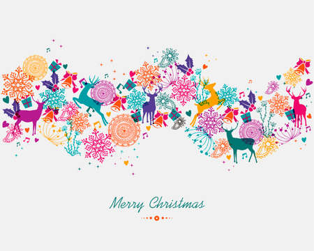 Christmas garland colorful holiday elements isolated background. EPS10 vector file organized in layers for easy editing. Vector