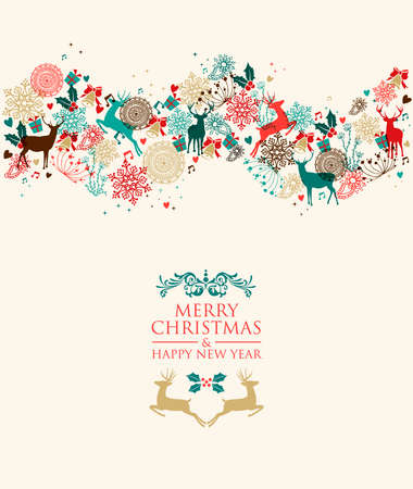 Retro Christmas transparent colors ornaments greeting card composition. EPS10 vector file with transparency layers. Vector