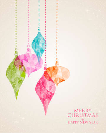 Vintage Christmas colorful hanging bauble postcard composition. EPS10 vector file with transparency layers.