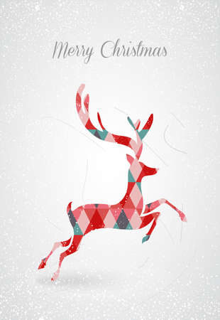 Vintage Merry Christmas abstract texture reindeer with geometric triangle composition. EPS10 vector file organized in layers for easy editing. Vector