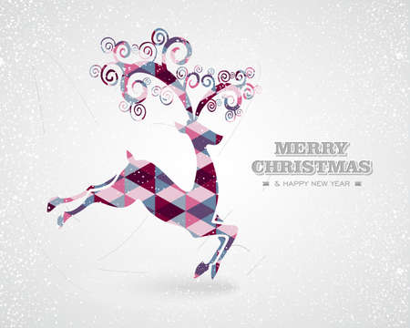 Merry Christmas and Happy New Year colorful abstract reindeer with geometric illustration. EPS10 vector file organized in layers for easy editing. Ilustração