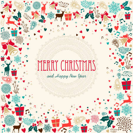 Retro Christmas greeting card background. EPS10 vector file organized in layers for easy editing. Vector Illustration