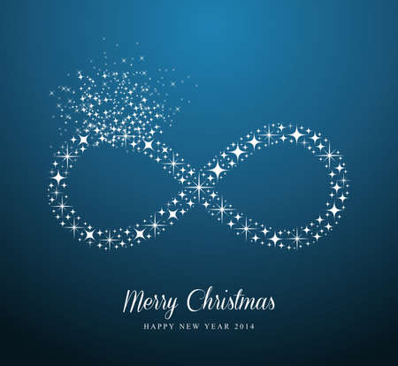 Merry Christmas and Happy New Year 2014 contemporary stars Infinite symbol composition card. EPS10 vector file organized in layers for easy editing. Vector
