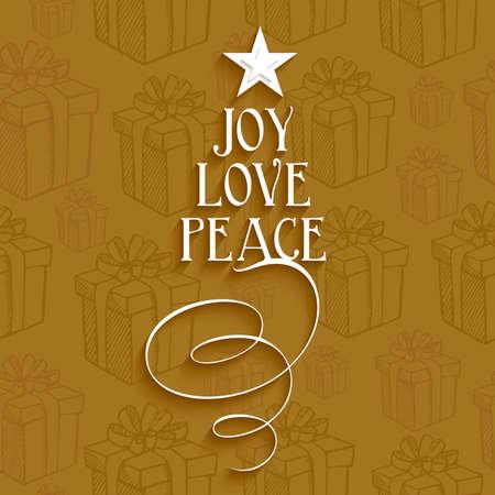 メリー クリスマス テキスト ツリーの喜び愛と平和のシームレスなパターンの背景を持つ。EPS10 ベクトル ファイル簡単に編集用レイヤーに整理しま