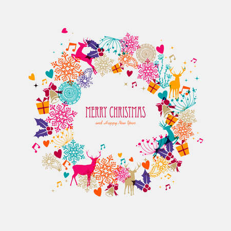Merry Christmas wreath colorful transparent holiday elements background. EPS10 vector file organized in layers for easy editing.