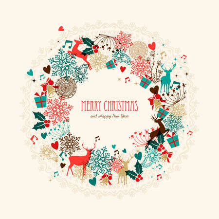 Vintage Christmas garland transparent colors elements postcard. EPS10 vector file with transparency layers.