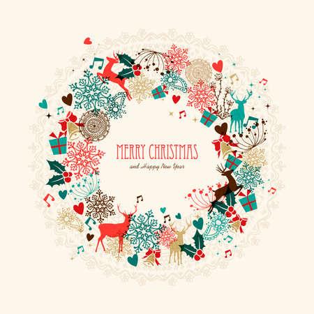 Vintage Kerst guirlande transparante kleuren elementen briefkaart. EPS10 vector-bestand met transparantie lagen.