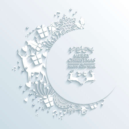 Trendy Christmas white elements 3D greeting card composition.  EPS10 vector file organized in layers for easy editing.
