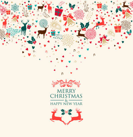 Retro Christmas splash colors elements postcard background. EPS10 vector file organized in layers for easy editing.