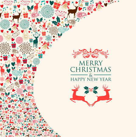 Christmas holiday colorful elements background. EPS10 vector file organized in layers for easy editing. Çizim