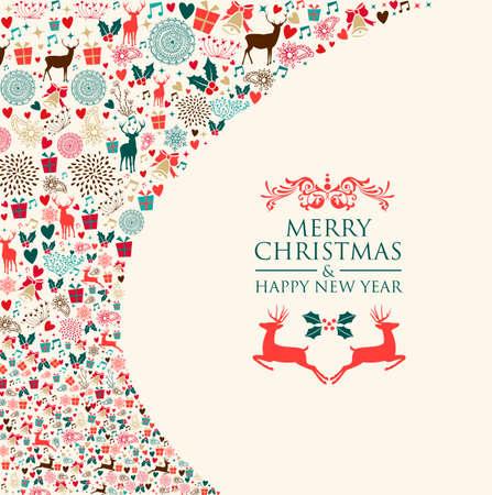 Weihnachtsferien bunten Elementen Hintergrund. EPS10 Vektor-Datei in Ebenen für einfache Bearbeitung organisiert. Standard-Bild - 24291470