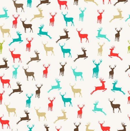 renos de navidad: Colores de la Navidad Reno del vintage de fondo sin fisuras. Archivo vectorial EPS10 organizados en capas para facilitar la edición.
