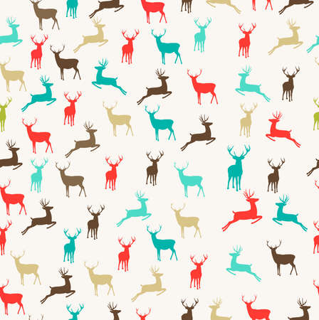 christmas vintage: Vintage Christmas colors reindeer seamless pattern background. EPS10 vector file organized in layers for easy editing.