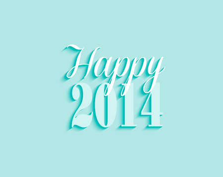 Happy new year 2014 typographic greeting card illustration.  Vector