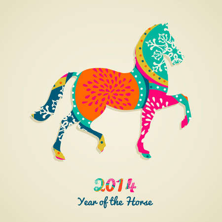2014 Chinese New Year of the Horse vibrant colors silhouette illustration.  Vector