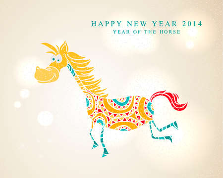 2014 Chinese New Year of the Horse colorful funny cartoon illustration.  Vector
