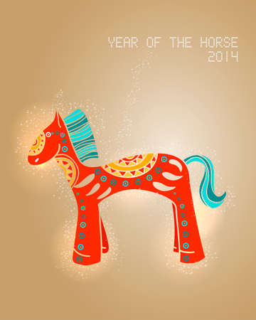 2014 Chinese New Year, colorful horse illustration. Vector