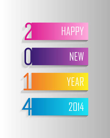 greeting card background: Happy new year 2014 holidays 3D label greeting card background. EPS10 vector file with transparency layers.