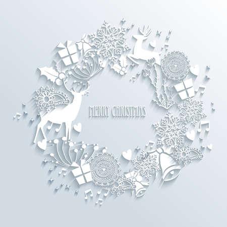 renos de navidad: Feliz Navidad guirnalda contemporánea con elementos blancos temporada 3d. EPS10 ilustración vectorial con capas de transparencia.
