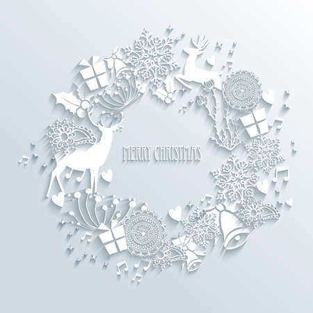 Merry Christmas contemporary wreath made with 3d season white elements. EPS10 vector illustration with transparency layers.