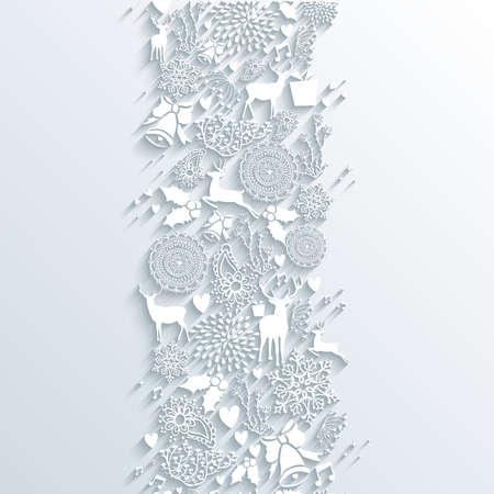 Kerst 3d decoratieve elementen naadloze patroon achtergrond. EPS10 vector illustratie met transparantie lagen.