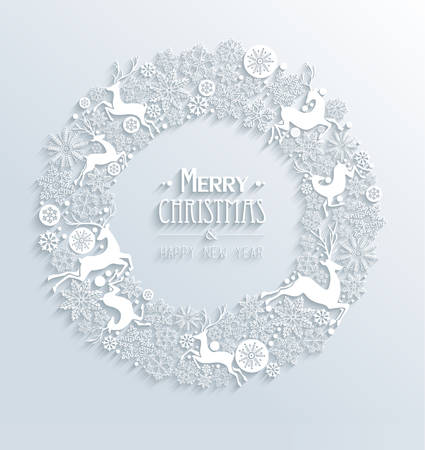 Merry Christmas and Happy new year contemporary 3d white elements wreath greeting card design. EPS10 vector illustration with transparency layers. Çizim