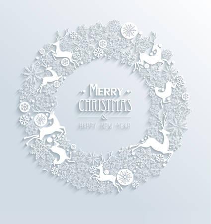 Vrolijk Kerstfeest en Gelukkig Nieuwjaar eigentijdse 3d witte elementen krans wenskaart ontwerpen. EPS10 vector illustratie met transparantie lagen.