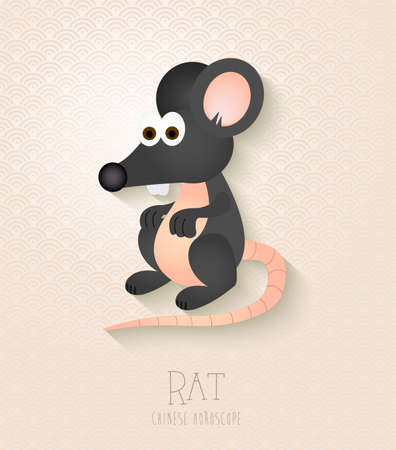 chinese horoscope: 2020 Chinese New Year of the Rat funny cartoon zodiac collection illustration.