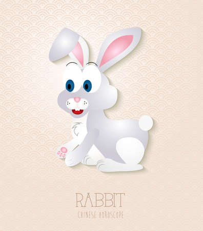 2023 Chinese New Year of the Rabbit funny cartoon zodiac collection illustration.  Vector