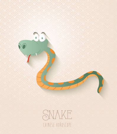 2025 Chinese New Year of the Snake funny cartoon zodiac collection illustration.  Vector