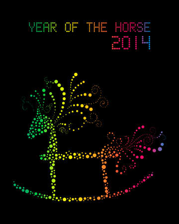 happy newyear: Chinese New Year 2014. Rainbow glowing rocking horse over black background. Illustration