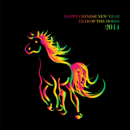 happy newyear: Chinese New Year 2014. Running rainbow colors running horse over black background.