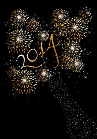 Happy new year 2014 holidays fireworks greeting card background.  Vector