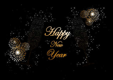 Happy new year 2014 holidays champagne flute glass with fireworks sparkles greeting card background. editing. Vector