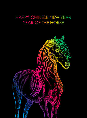 happy newyear: Chinese New Year 2014. Abstract colorful horse over black background.