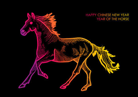 happy newyear: 2014 Chinese New Year of the Horse colorful abstract  silhouette composition over black background.