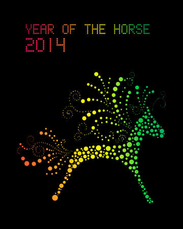 Chinese New Year 2014. Abstract Rainbow color horse over black background.  Vector