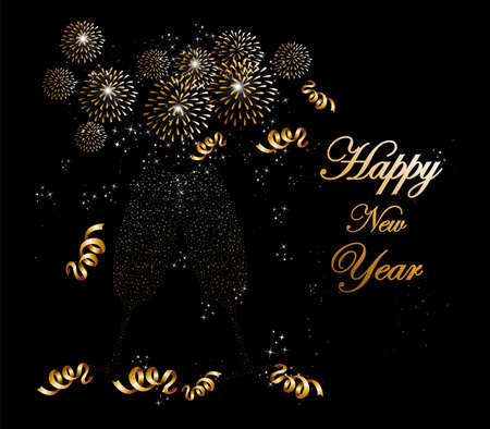 Happy new year 2014 holidays fireworks and flute glass greeting card background.  Vector