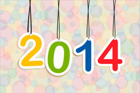 Colorful Happy new year 2014 numbers hanging greeting card illustration.  Vector